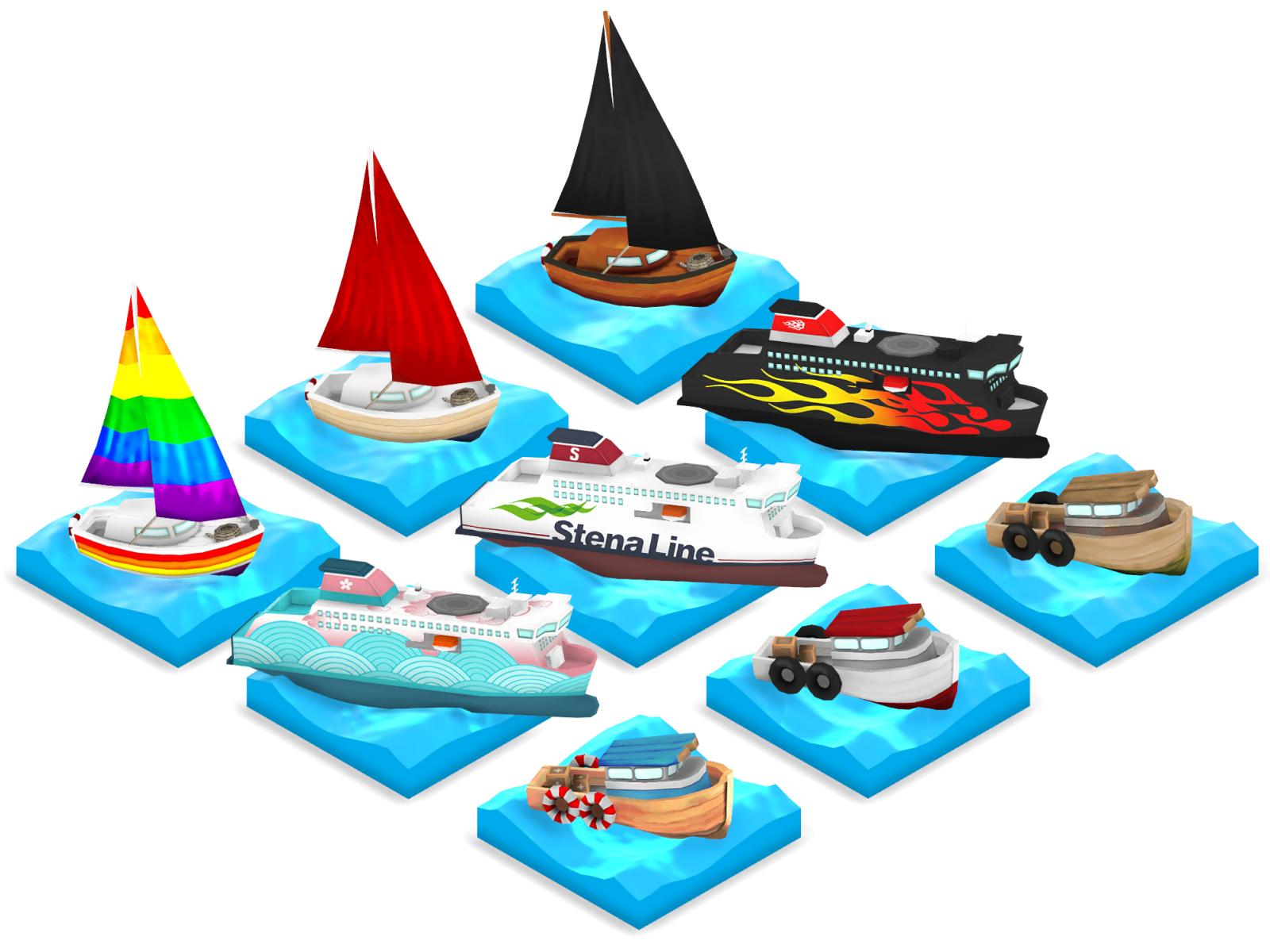 De båtar som kan väljas i spelet